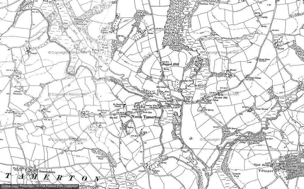 Old Map of Historic Map covering Affaland Wood in 1883