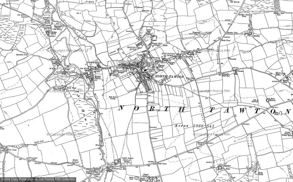 Old Map of Historic Map covering Ashridge Moor Cross in 1886