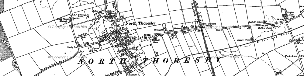 Old map of North Thoresby in 1887