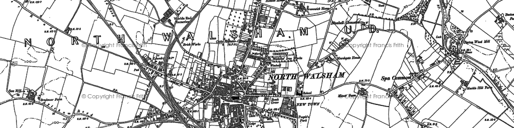 Old map of North Walsham in 1884