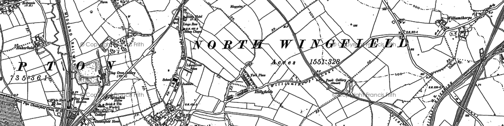 Old map of North Wingfield in 1877