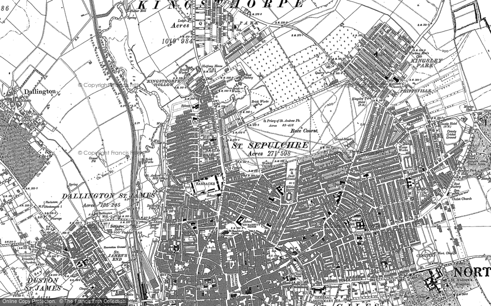 Old Map of Northampton, 1884 in 1884