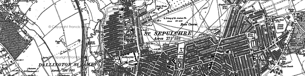 Old map of Northampton in 1884