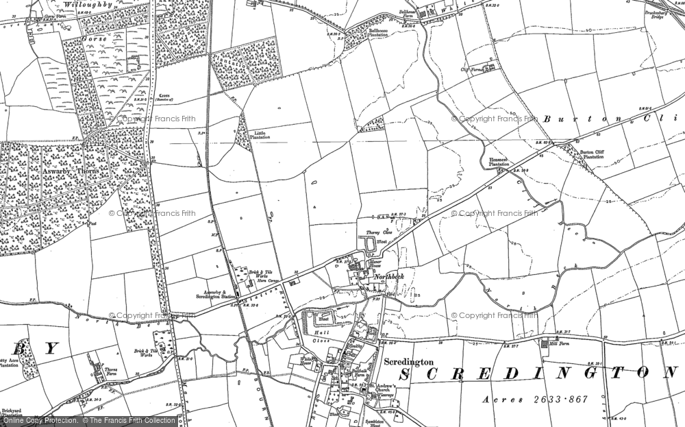 Old Map of Historic Map covering Willoughby Gorse in 1887