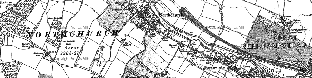 Old map of Northchurch in 1922