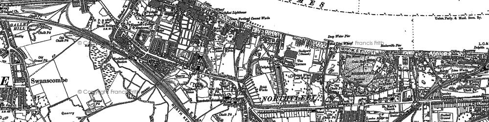 Old map of Northfleet in 1895