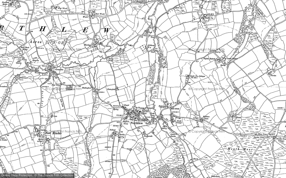 Old Map of Northlew, 1884 in 1884