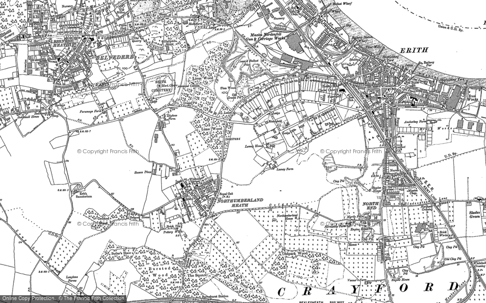 Old Map of Northumberland Heath, 1895 - 1907 in 1895