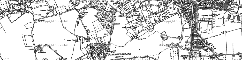 Old map of Northumberland Heath in 1895