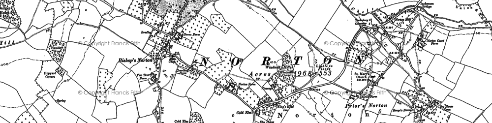 Old map of Bishop's Norton in 1883