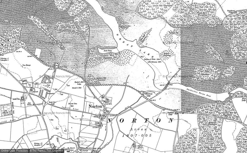 Old Map of Historic Map covering Wood Barn Plantn in 1884