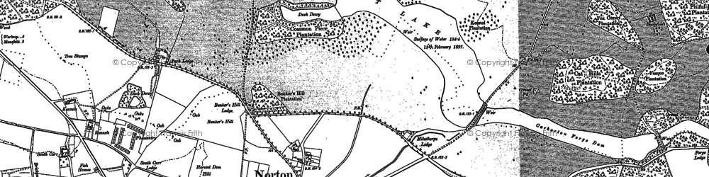 Old map of Wood Barn Plantn in 1884