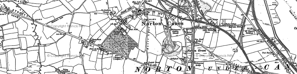 Old map of Norton Canes in 1883