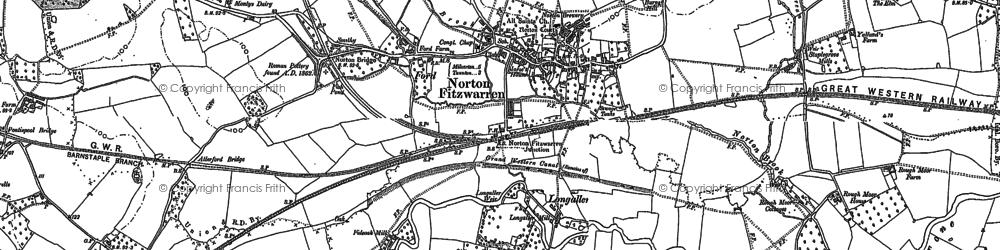 Old map of Norton Fitzwarren in 1887