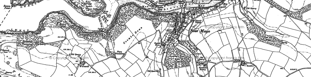 Old map of Worswell Barton in 1905