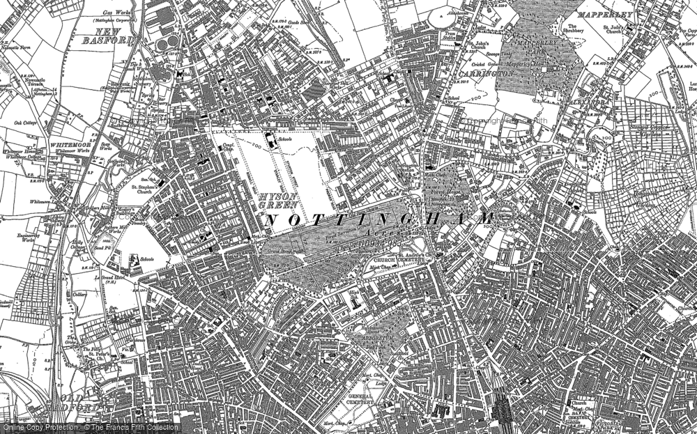 Old Map of Nottingham, 1881 in 1881