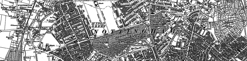 Old map of Nottingham in 1881