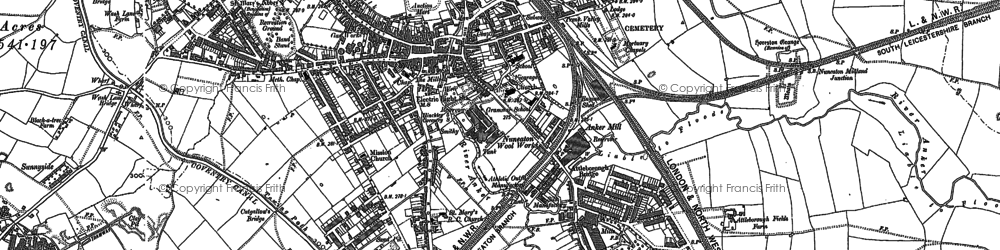 Old map of Nuneaton in 1901