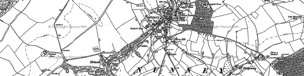 Old map of Nunney in 1884