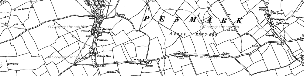 Old map of Font-y-gary in 1914