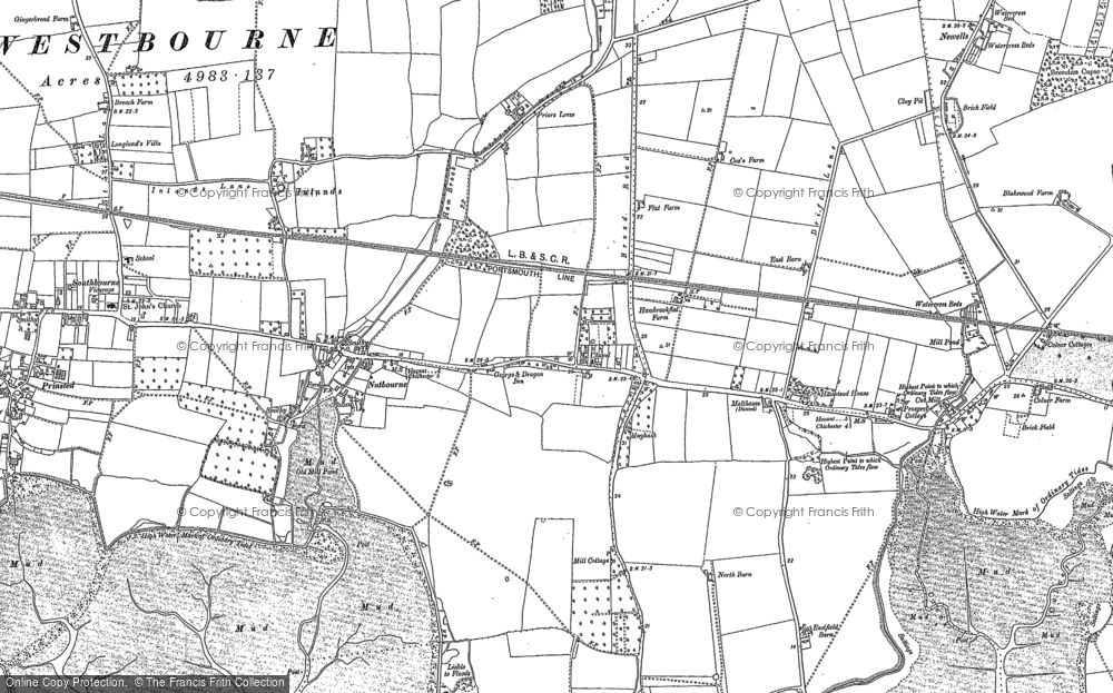 Old Map of Nutbourne, 1909 in 1909