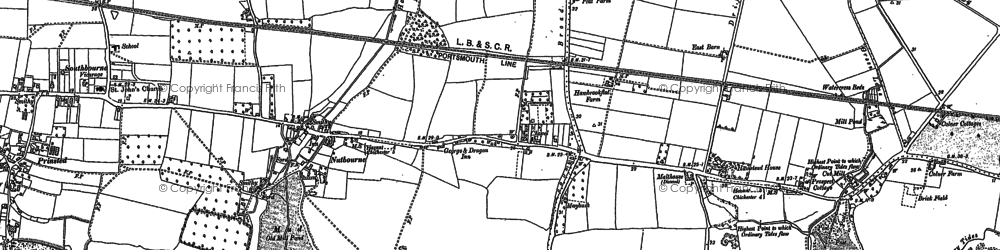 Old map of Nutbourne in 1909