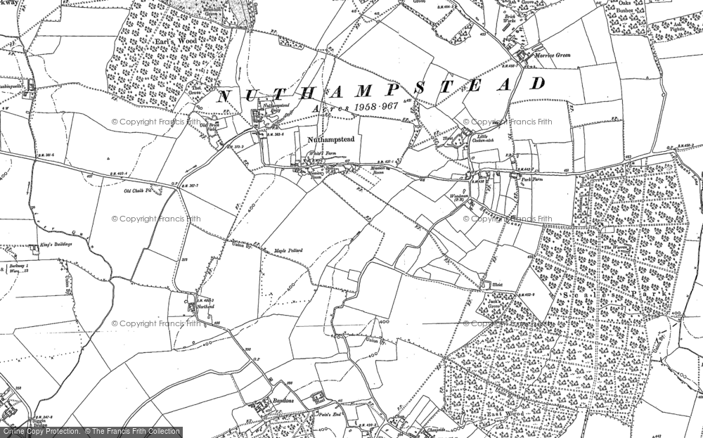 Old Map of Nuthampstead, 1896 in 1896