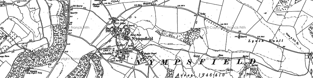 Old map of Coaley Peak in 1882