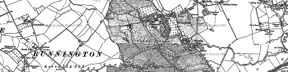 Old map of Nynehead in 1887
