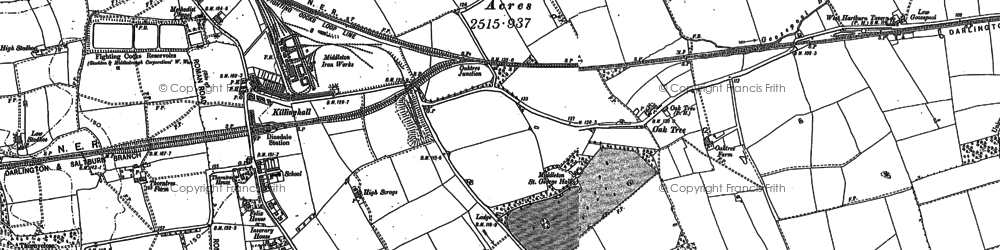 Old map of Durham Tees Valley Airport in 1913