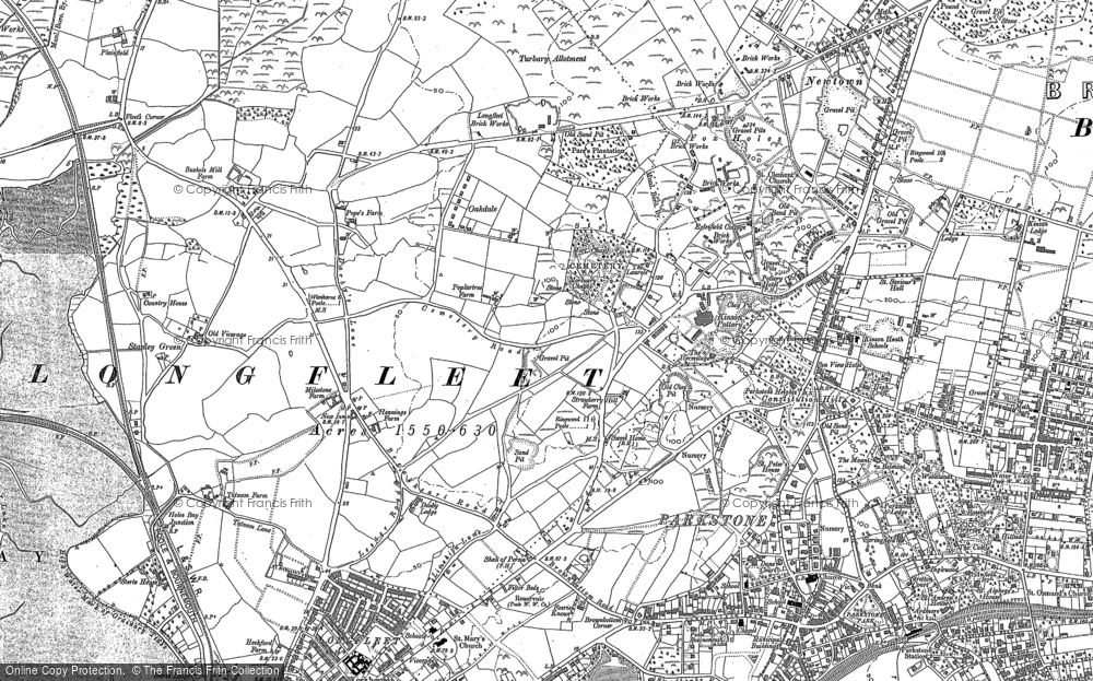 Old Map of Historic Map covering Poole in 1886