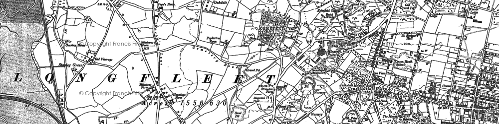 Old map of Poole in 1886