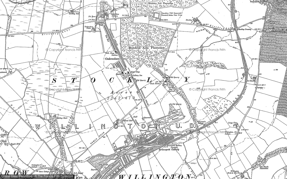 Old Map of Historic Map covering Lingey Close in 1896