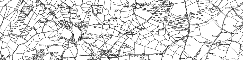 Old map of Oakford in 1887