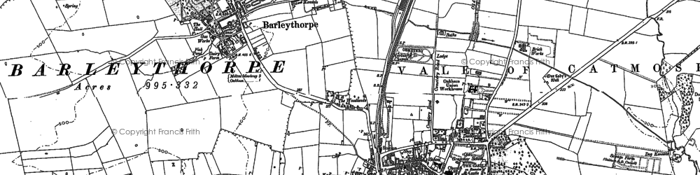 Old map of Oakham in 1884