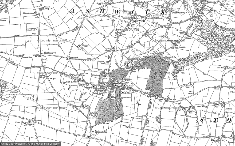 Old Map of Historic Map covering Ashwick in 1884