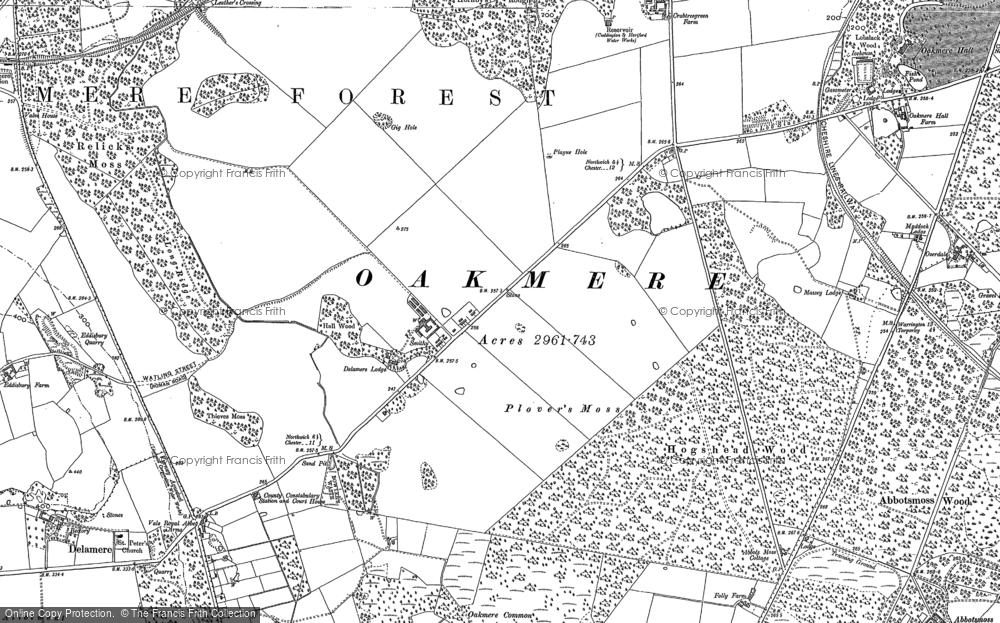 Old Map of Historic Map covering Abbots Moss in 1897