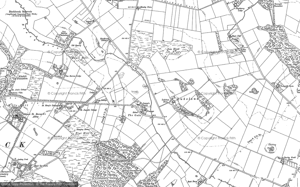Old Map of Historic Map covering Agar Nook in 1883
