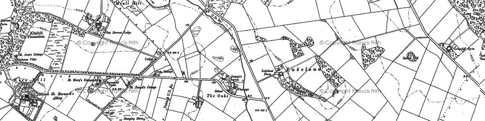 Old map of Abbot's Oak in 1883