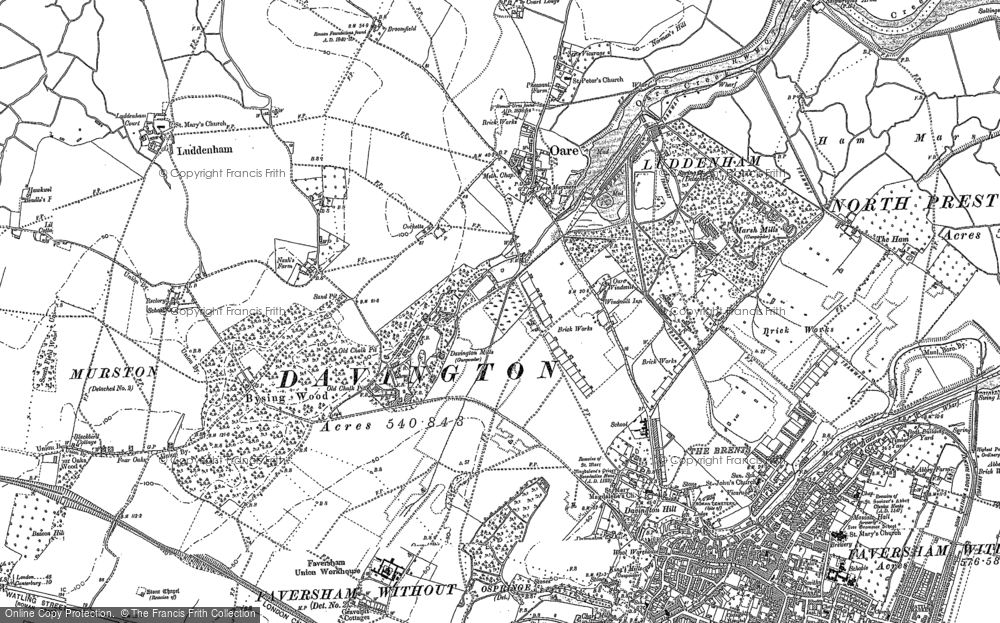 Old Map of Oare, 1896 in 1896