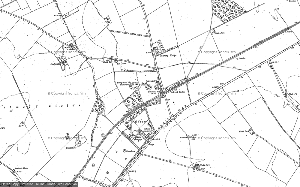 Old Map of Historic Map covering Ashwell & Morden Sta in 1901
