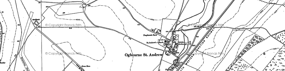 Old map of Ogbourne St Andrew in 1899