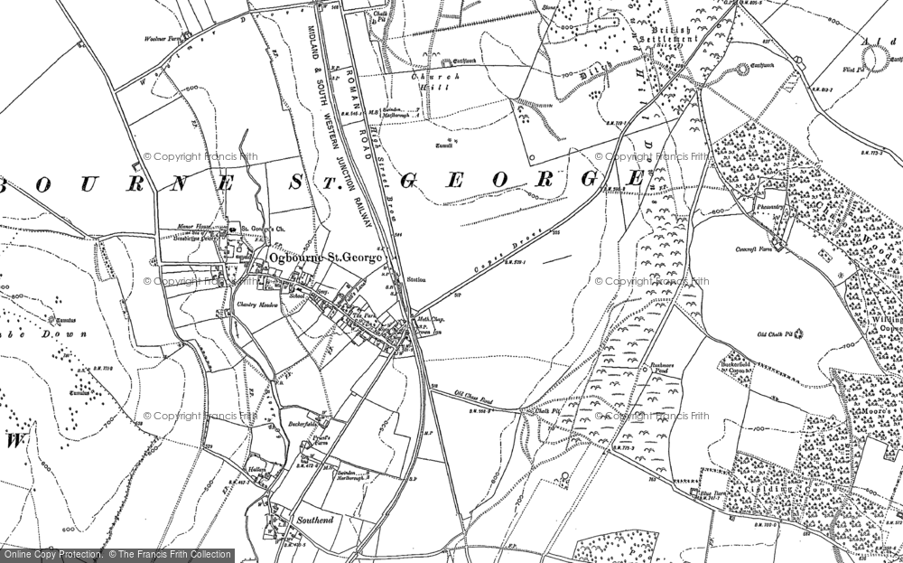 Old Map of Historic Map covering Aldbourne Chase in 1899