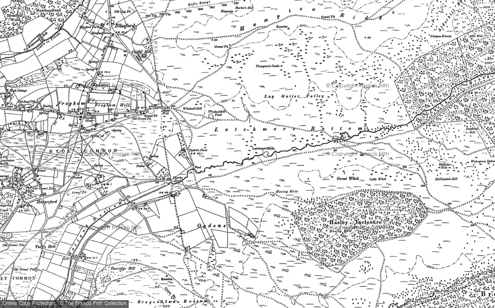 Old Map of Historic Map covering Latchmore Brook in 1895