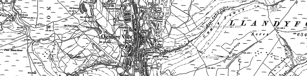 Old map of Ogmore Vale in 1897