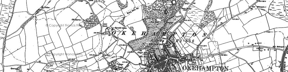Old map of Okehampton in 1884