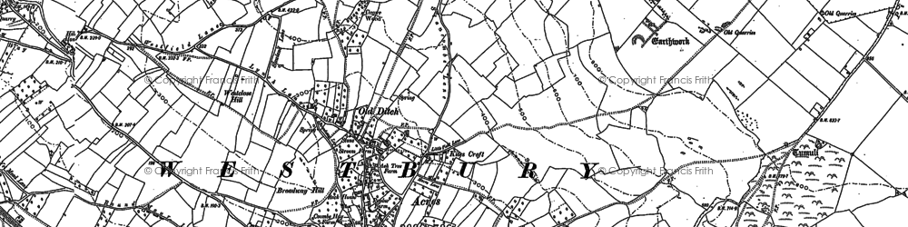 Old map of Westbury Beacon in 1884