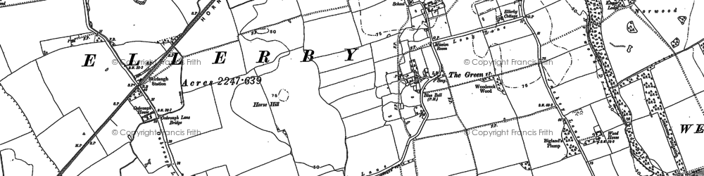 Old map of Wood Hall in 1889