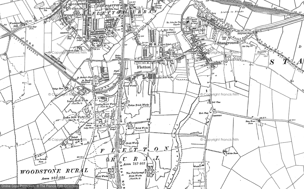 Old Map of Old Fletton, 1887 in 1887