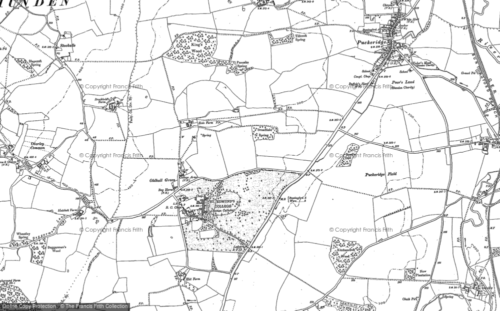Old Map of Historic Map covering Levens Green in 1895